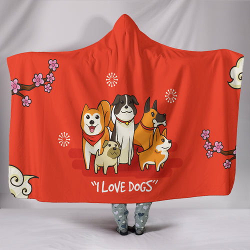 Hoodie Blanket - I Love Dogs_Red - JaZazzy