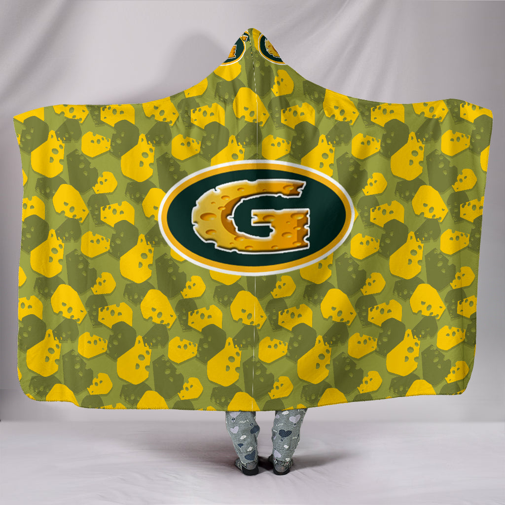Cheese Head Camouflage Hooded Blanket_Green-Yellow - JaZazzy
