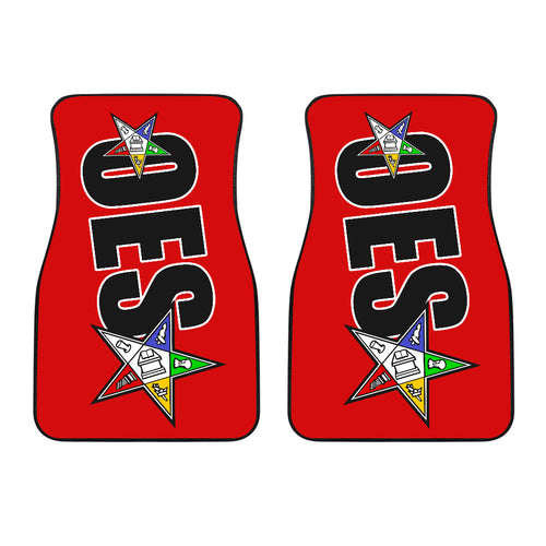 OES 2pc Front Car Floor Mats 5318A Black/Red - JaZazzy