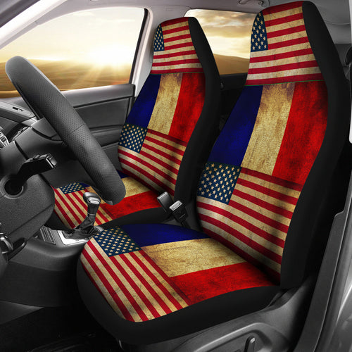 JZP-American-France Flag Seat Cover 01A - JaZazzy