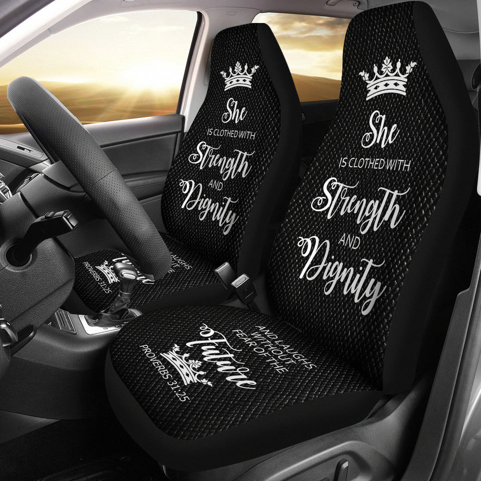 Proverbs 31 Woman Car-SUV Seat Cover-Black-White - JaZazzy