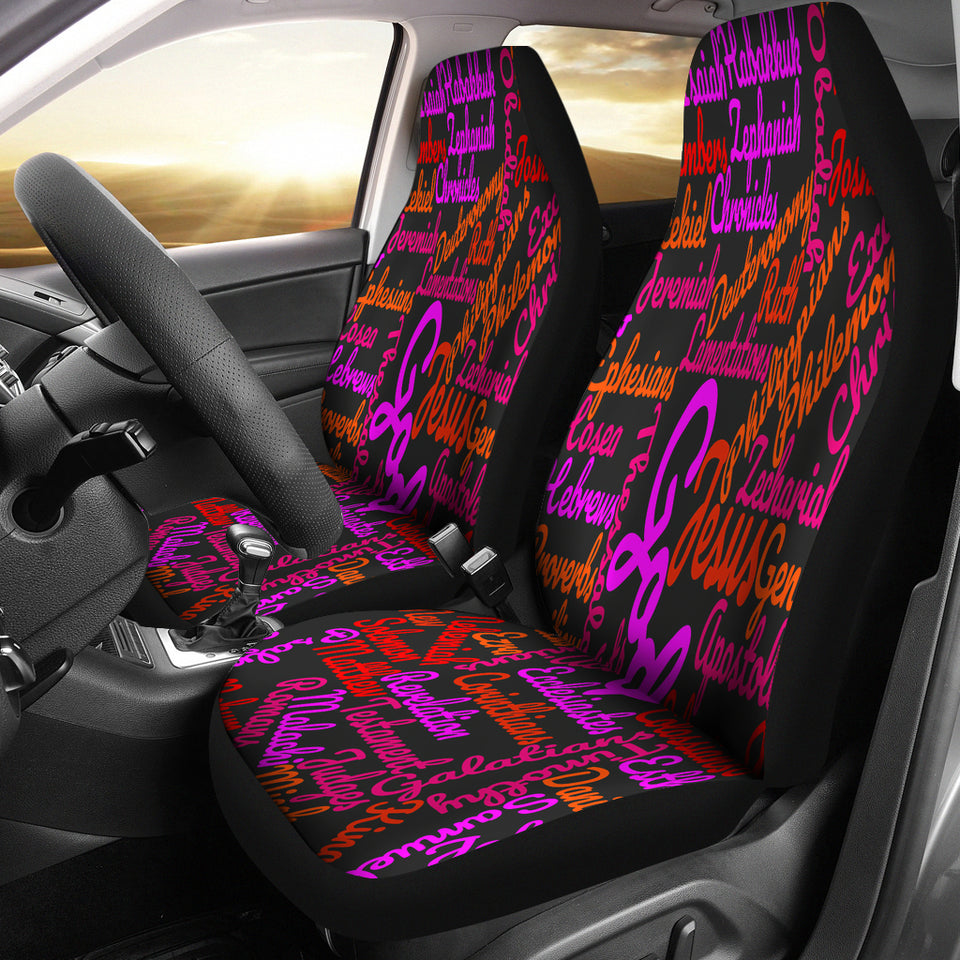 Custom-Made Holy Bible Books Black Mixed Colors Car Seat Cover - JaZazzy