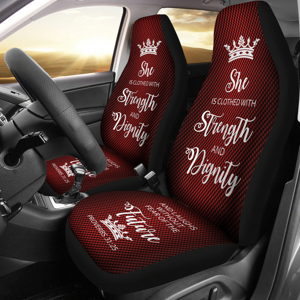Proverbs 31 Woman  Car-SUV Seat Cover-Red-White - JaZazzy