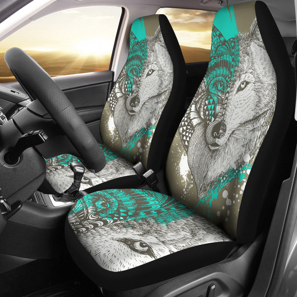 Wolf Head Zentangle Car Seat Covers - JaZazzy