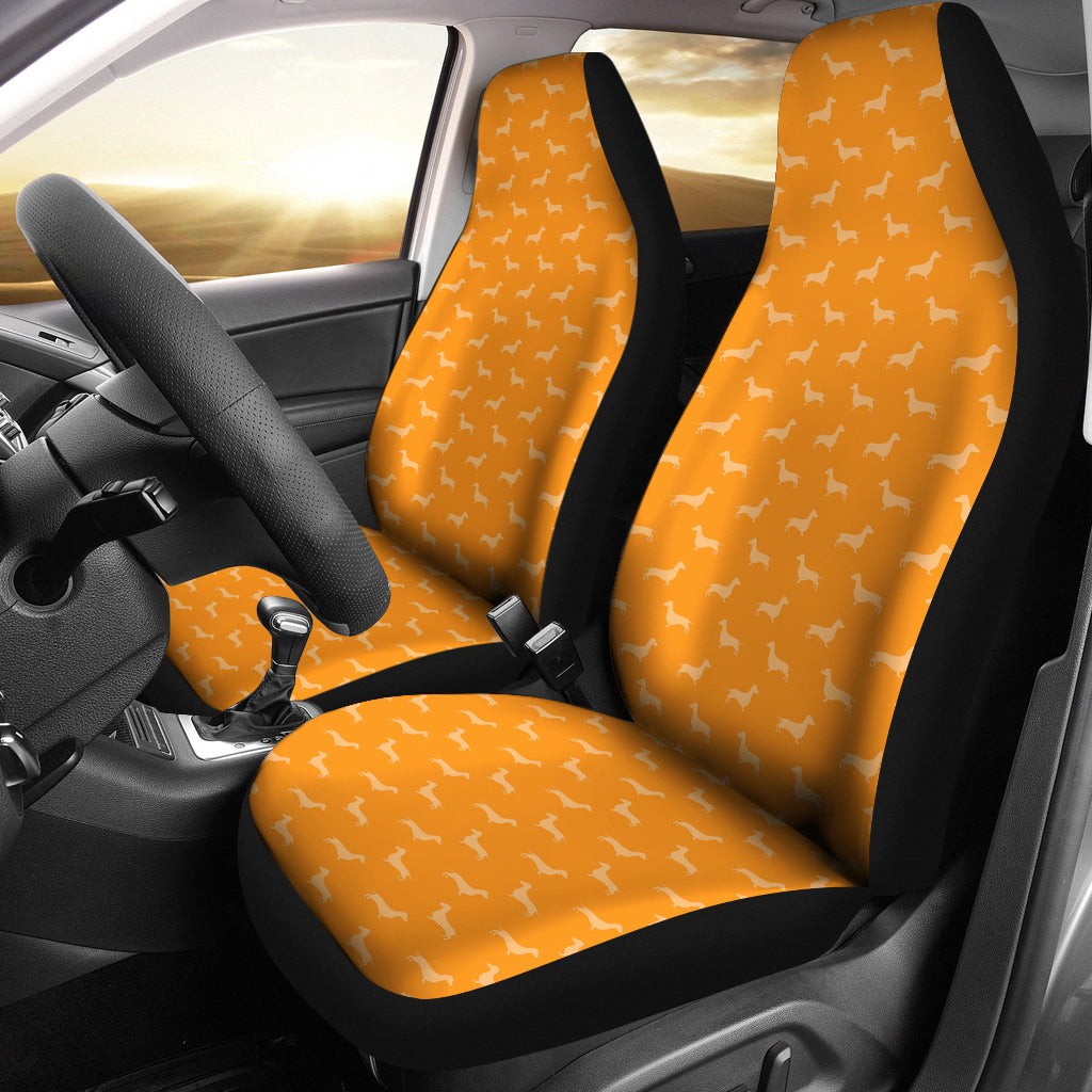 Dachshund Pattern Orange Car Seat Covers - JaZazzy