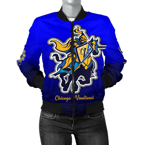 Chicago Vocational CVS BLUEBLEND Bomber Jacket_Women - JaZazzy