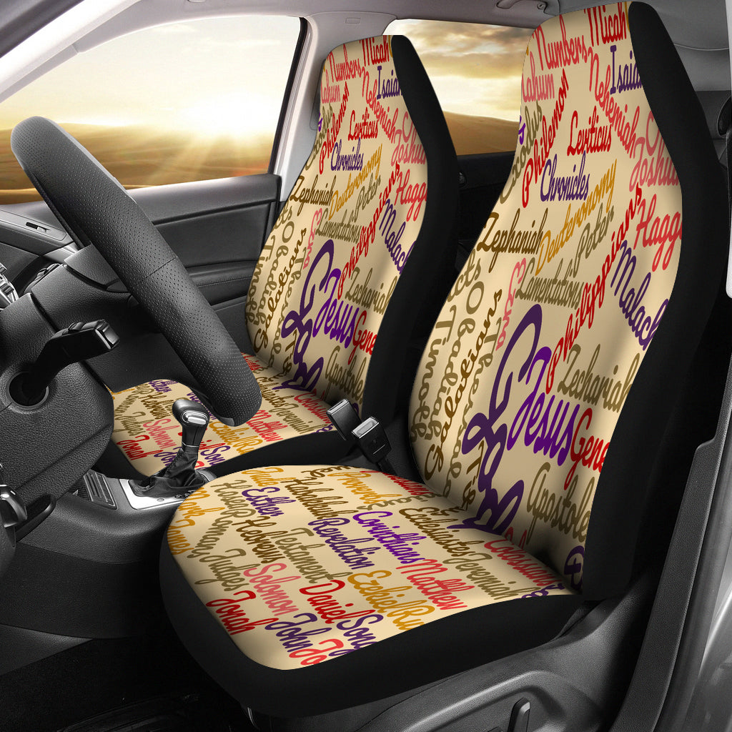 Custom-Made Holy Bible Books Light Brown Car Seat Cover - JaZazzy