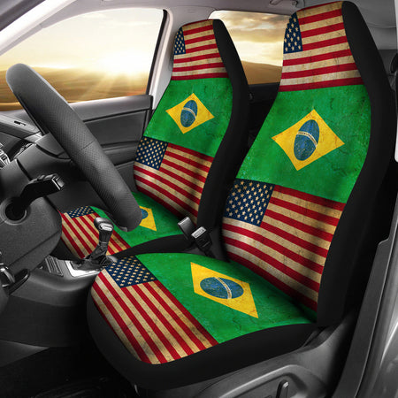 JZP - American Brazilian Flag Car Seat Cover  210A - JaZazzy