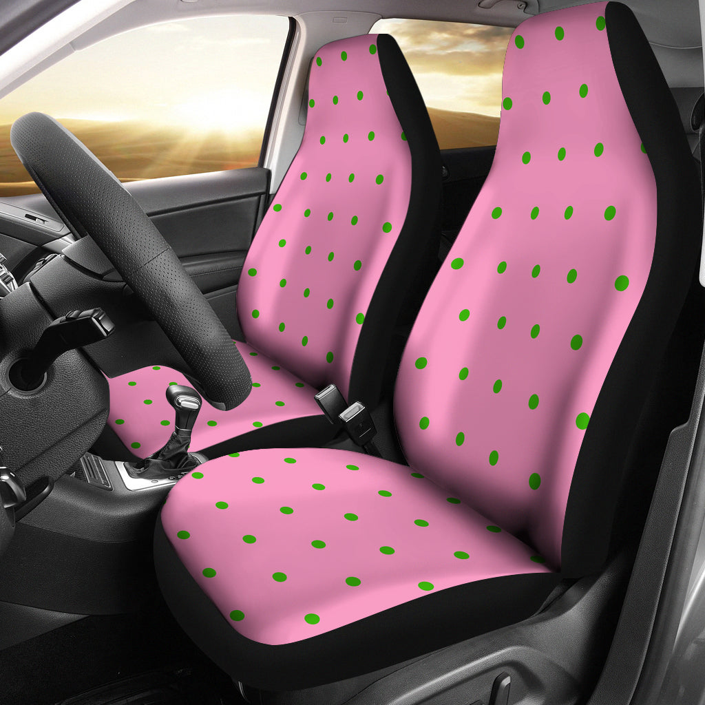 Pink With Green Polka Dot Car SUV Seat Cover