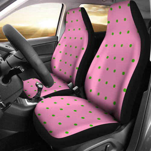 Pink with Green Polka Dot Car-SUV Seat Cover - JaZazzy