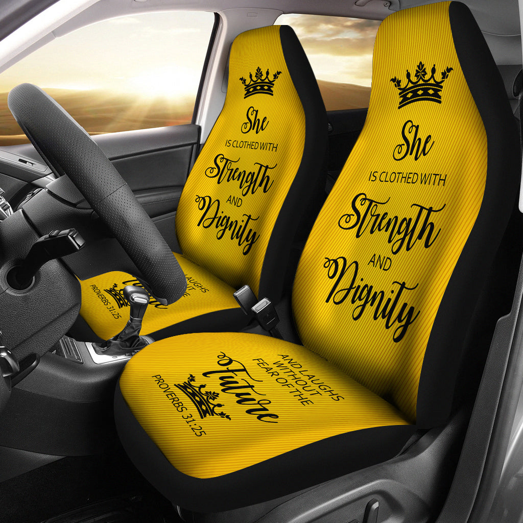 Proverbs 31 Woman Car-SUV Seat Cover- Gold-Black - JaZazzy
