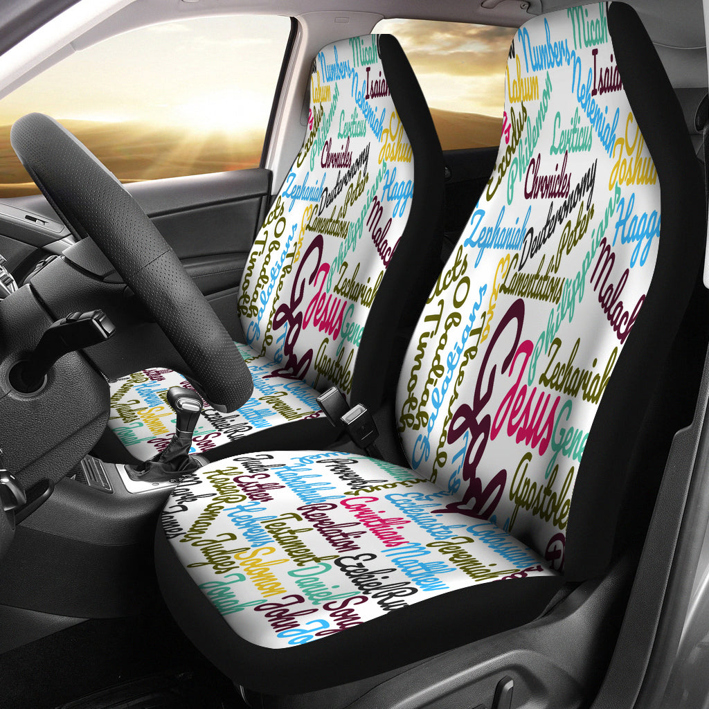Custom-Made Holy Bible Books White Purple Car Seat Cover - JaZazzy