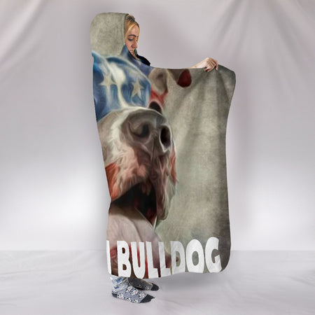 American Bulldog Hooded Blanket_Red-White-Blue - JaZazzy