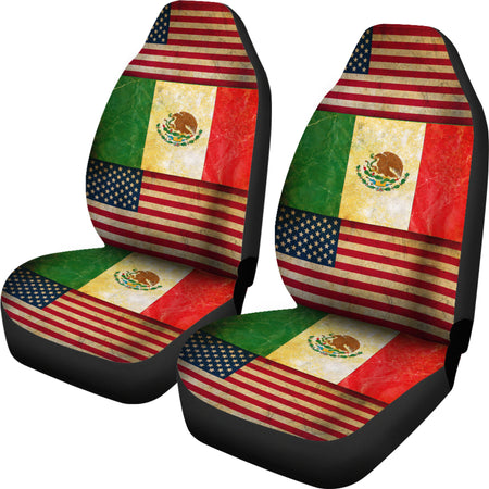 JZP- America-Mexico Flag Seat Cover 01A - JaZazzy