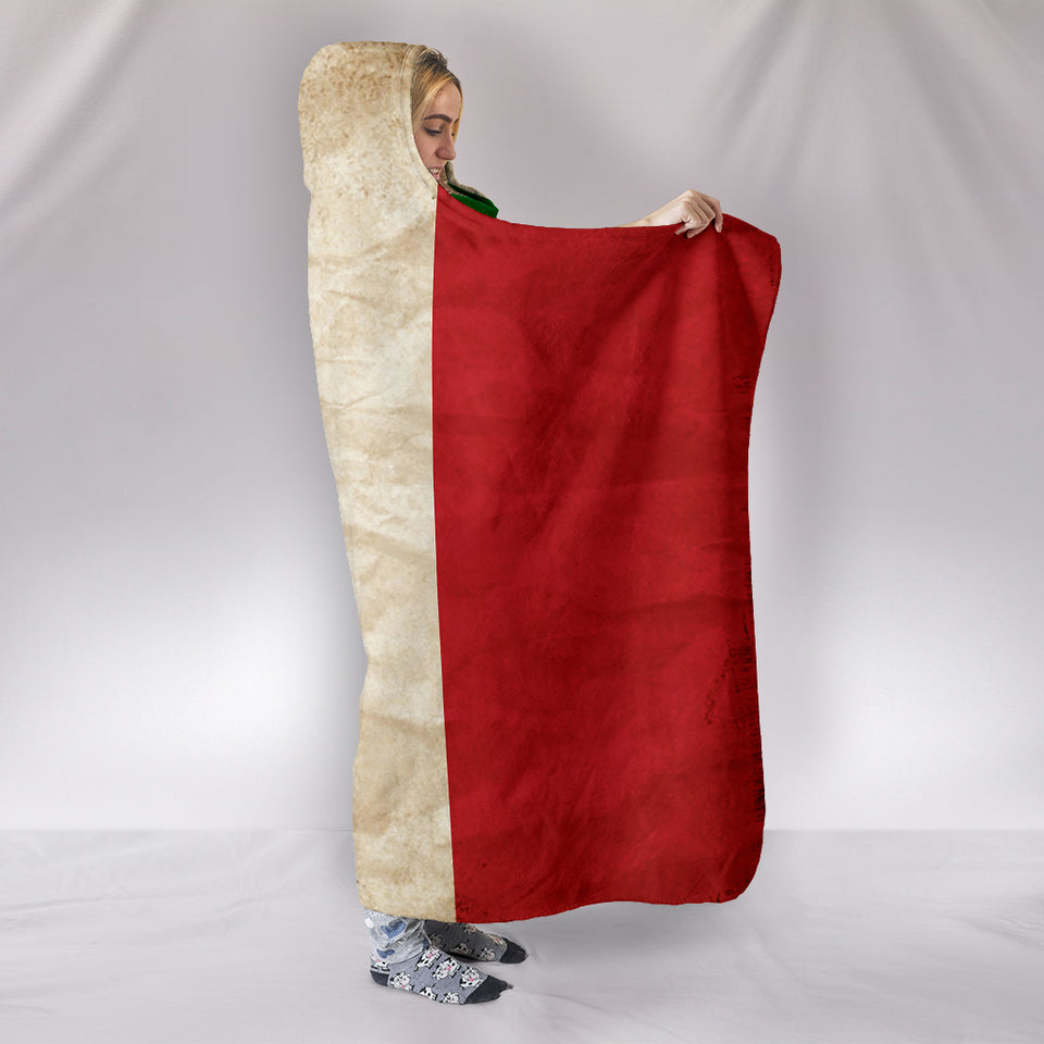 Hoodie Blanket - Italian Flag_Green-White-Red - JaZazzy