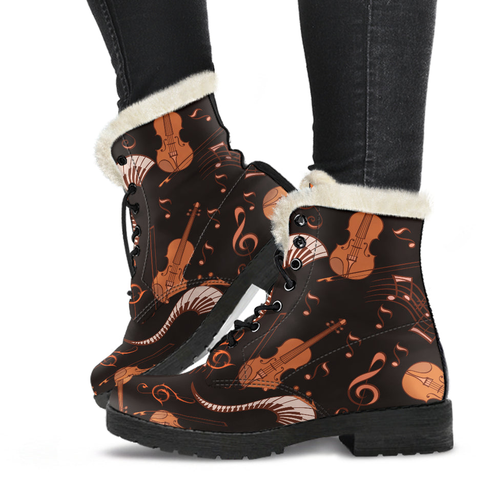 Strings and Notes Violin Faux Fur Leather Boots Shoes - JaZazzy