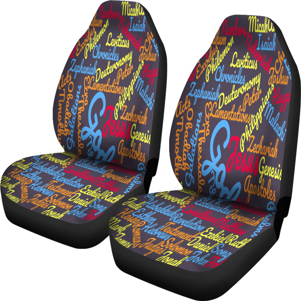 Custom-Made Holy Bible Books Grey Mixed Color Car Seat Cover - JaZazzy