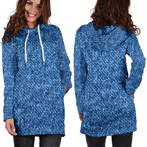 Denim Print Womens Hoodie Dress - JaZazzy