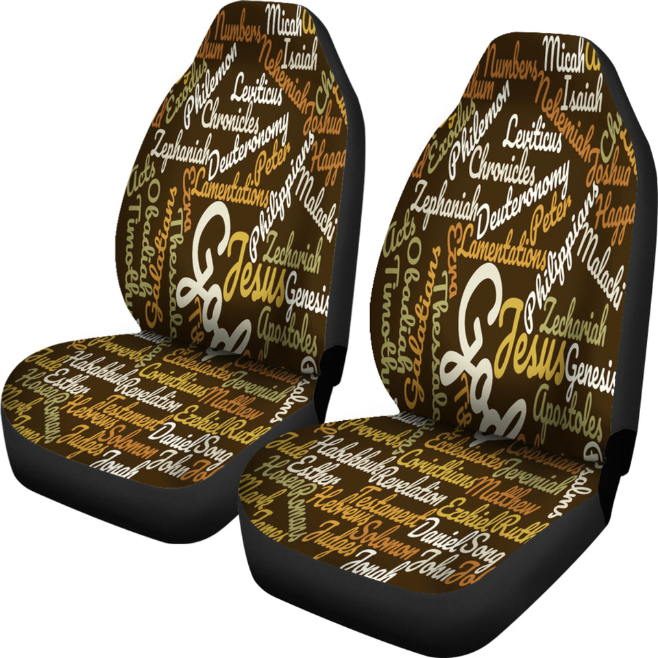 Custom-Made Holy Bible Books Brown Car Seat Cover - JaZazzy