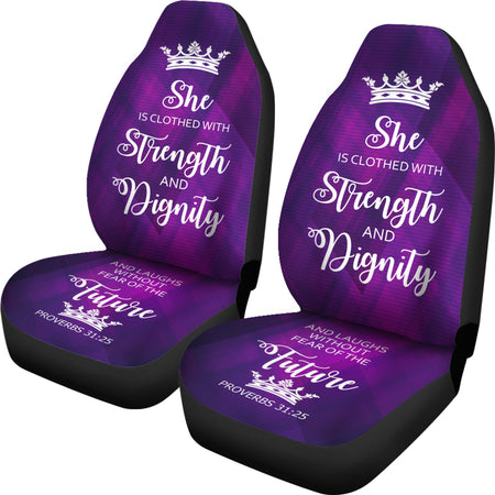 Proverbs 31 Woman Car-SUV Seat Cover-Purple-White - JaZazzy