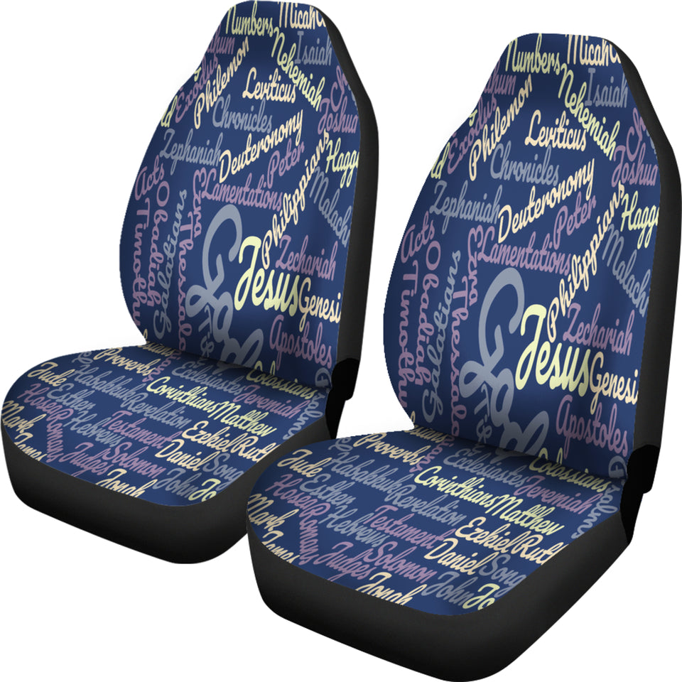 Custom-Made Holy Bible Books Blue Car Seat Cover - JaZazzy