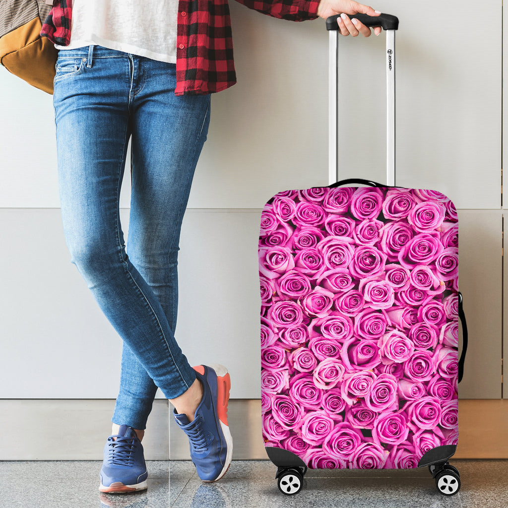 Pink Roses Luggage Cover - JaZazzy