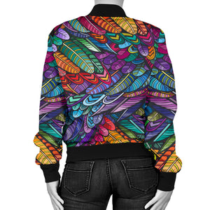 Boho Feather 3 Bomber Jacket - JaZazzy