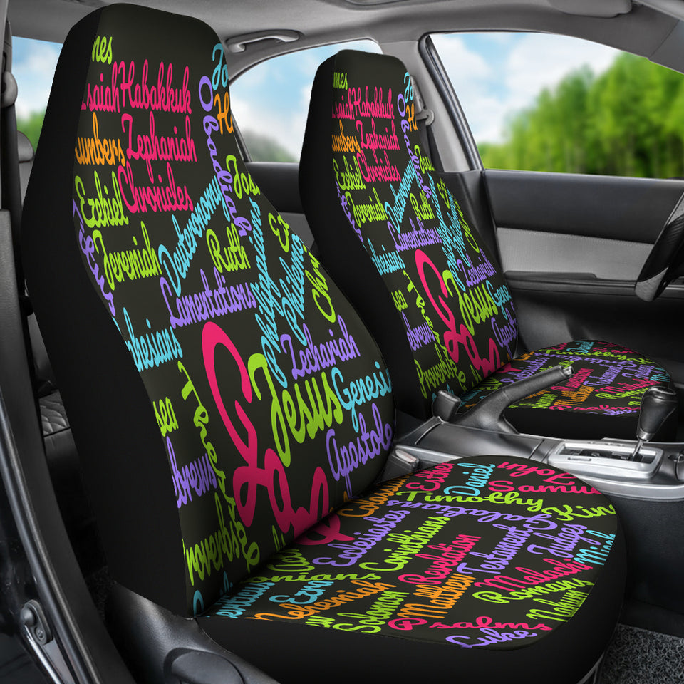 Custom-Made Holy Bible Books Pink Mixed Colors Car Seat Cover - JaZazzy