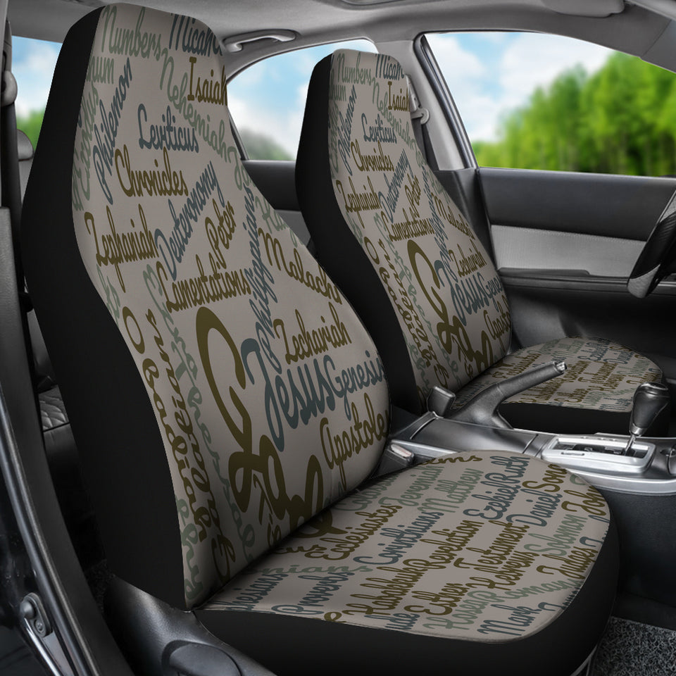 Custom-Made Holy Bible Books Grey Car Seat Cover - JaZazzy