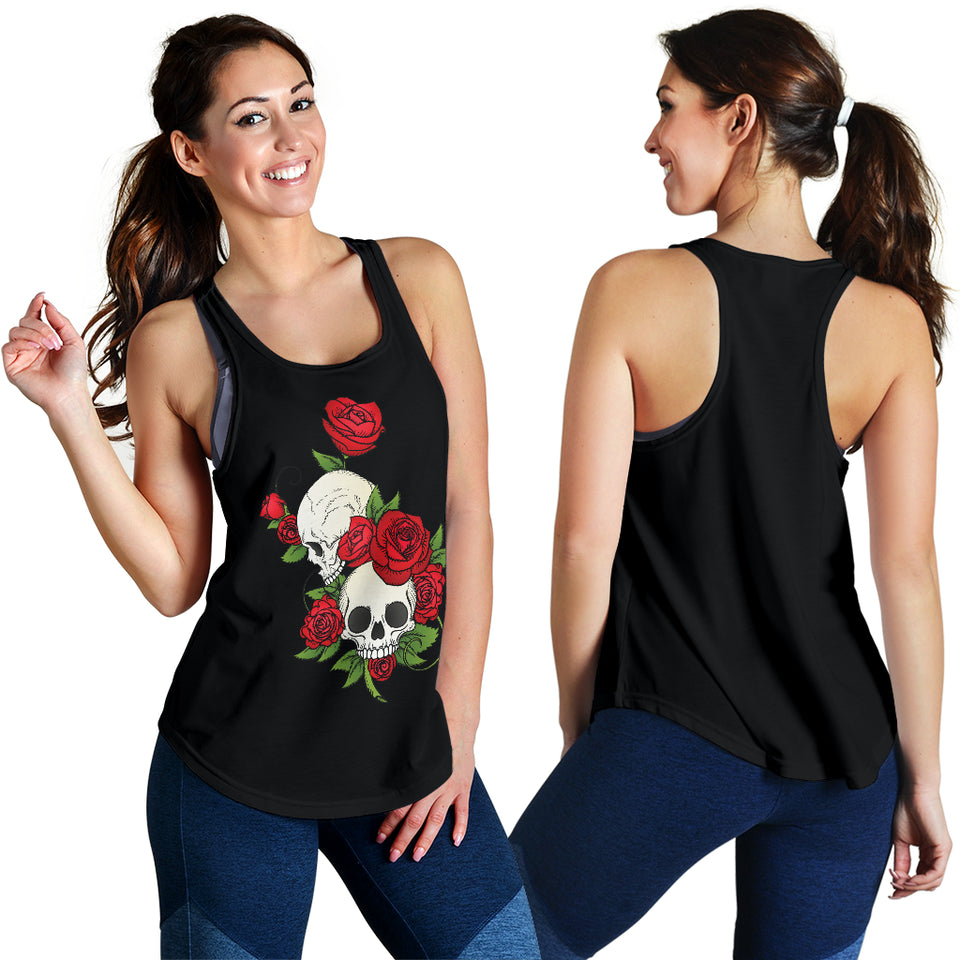 Skull Couple Roses (Black) - Women's Racerback Tank Top - JaZazzy