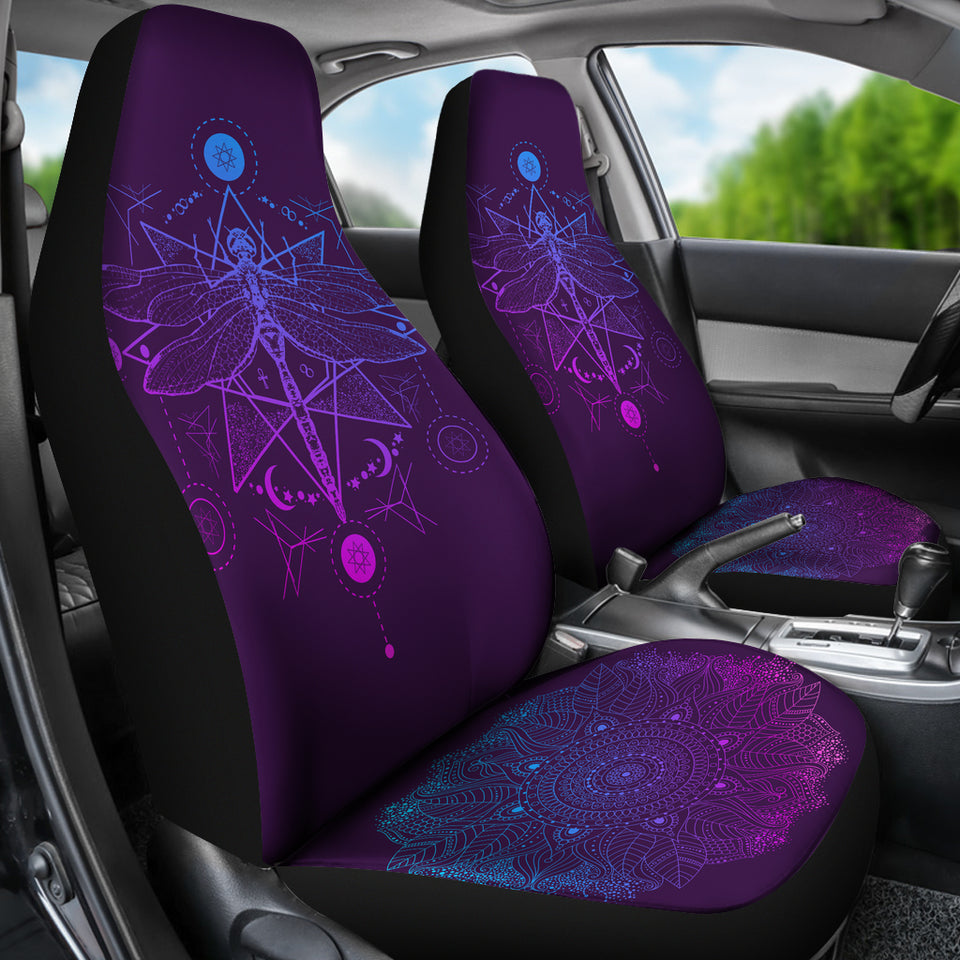 Purple Dragonfly Fractal Car Seat Covers - JaZazzy