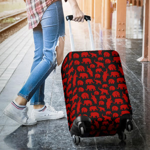 Delta-Non Letter Red Mini Elephants Luggage Cover - JaZazzy