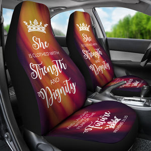 Proverbs 31 Woman Car-SUV Seat Cover-Orange Flame-White - JaZazzy
