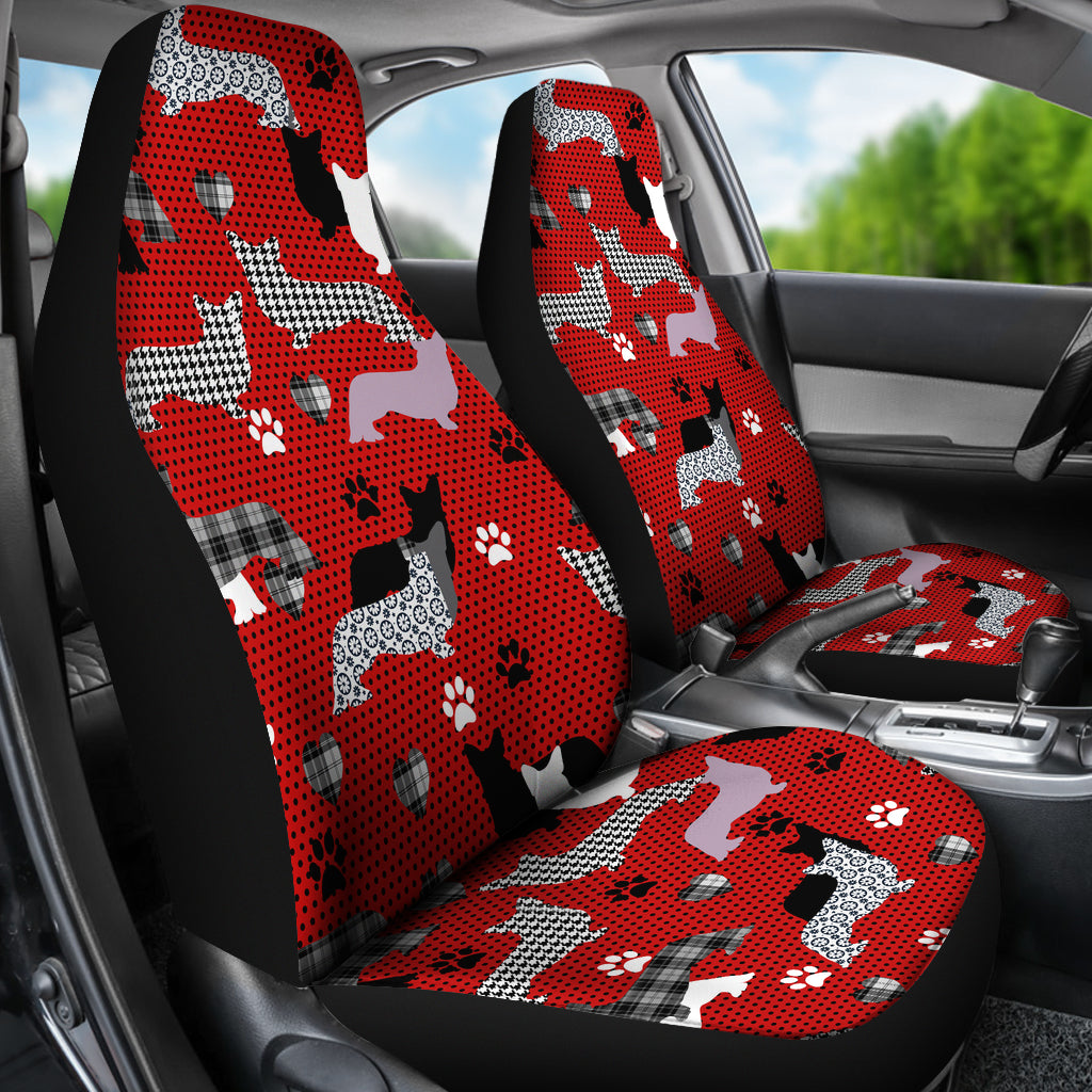 Dogs Red Car Seat Covers - JaZazzy
