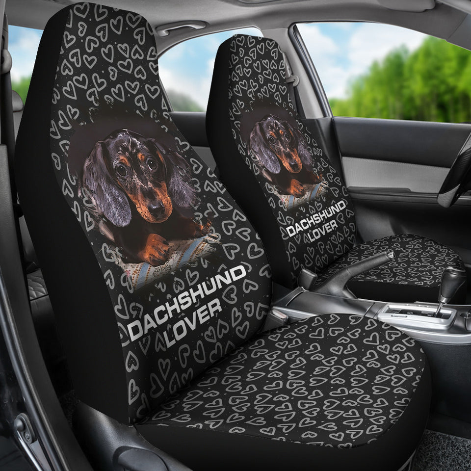 Doxie Hearts Black Car Seat Covers - JaZazzy