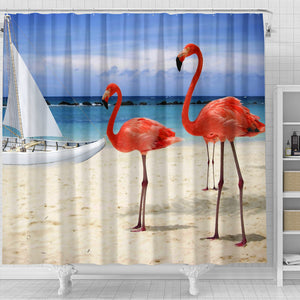 Beach and Flamingos Shower Curtain - JaZazzy