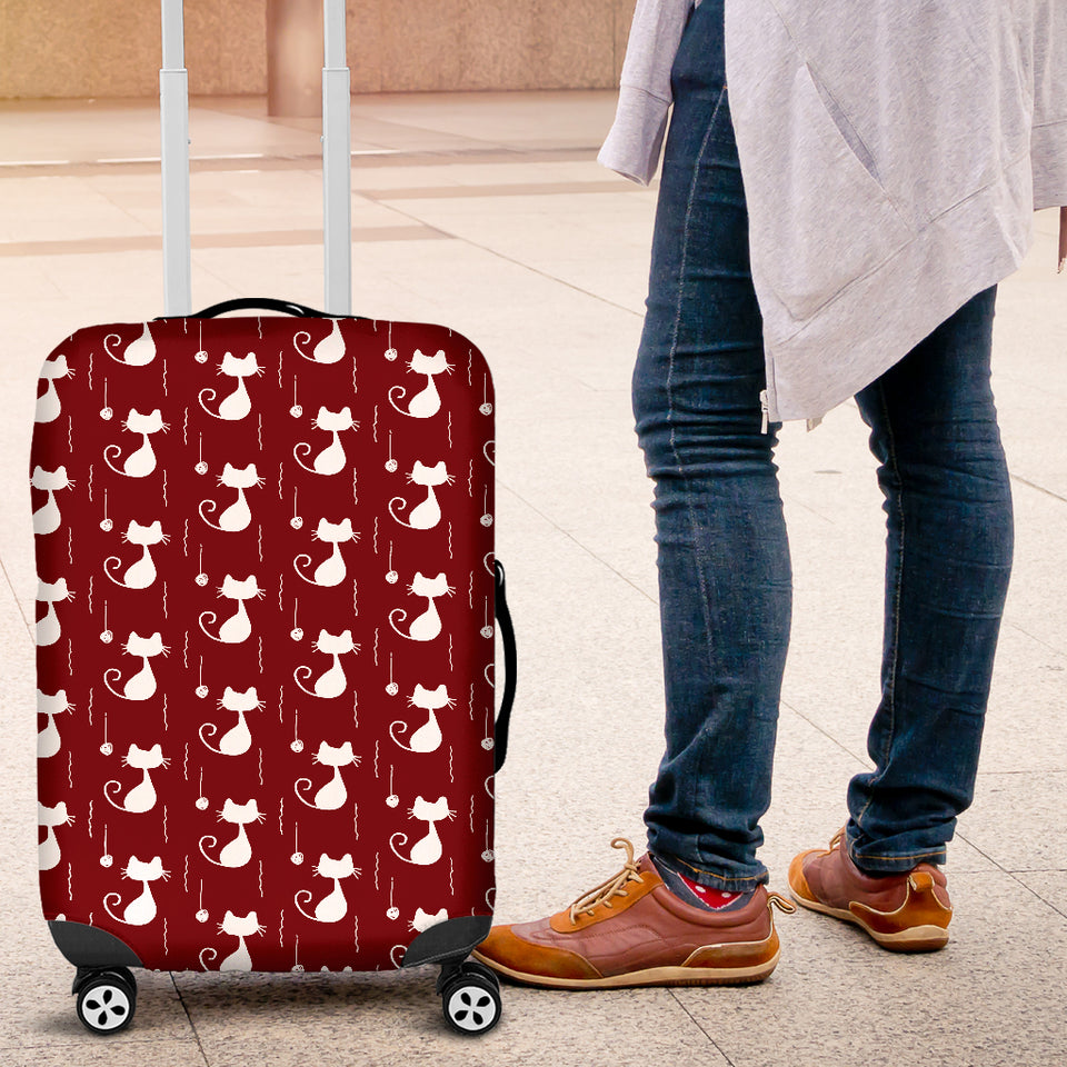 Cat Luggage Cover 1C  Maroon - JaZazzy