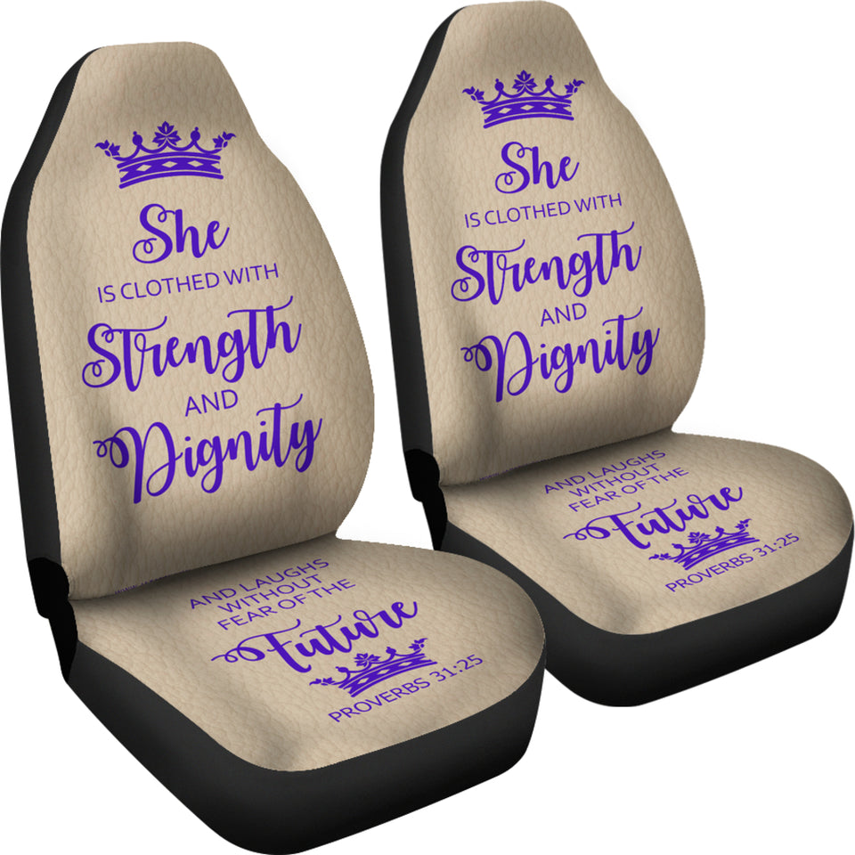 Proverbs 31 Woman  Car-SUV Seat Cover-Tan-Purple - JaZazzy