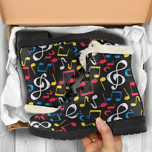 Blue, Red Whiten and Yellow Music Notes Faux Fur Leather Boots Winter Shoes - JaZazzy