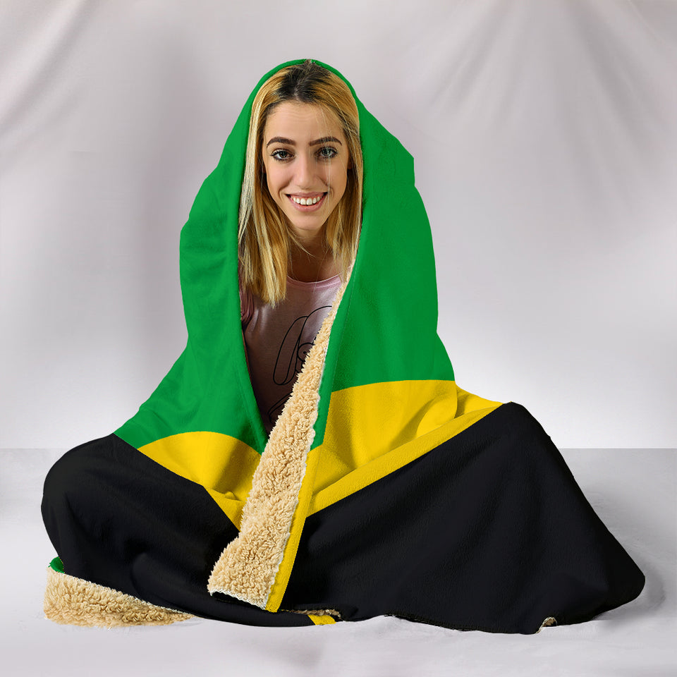 Jamaican Flag Hooded Blanket_Black-Gold-Green - JaZazzy