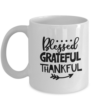 Coffee Mug-Blessed Grateful Thankful-Coffee Cup