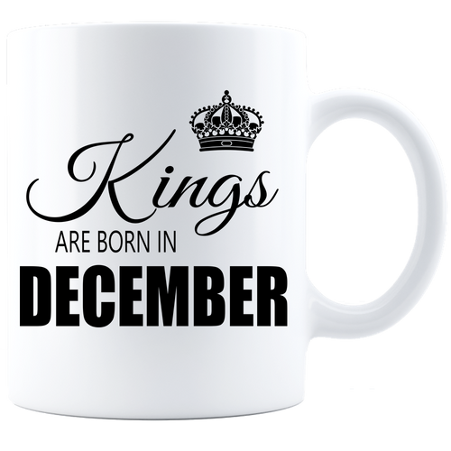 Kings are born in December Coffee Mug - White-Black - JaZazzy