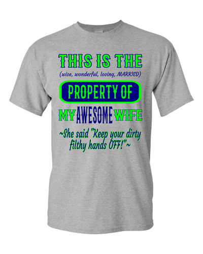 Adult Unisex T-Shirt_Property of Awesome Wife_SS_Athletic Heather - JaZazzy