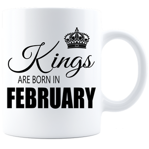Kings are born in February Coffee Mug - White-Black - JaZazzy