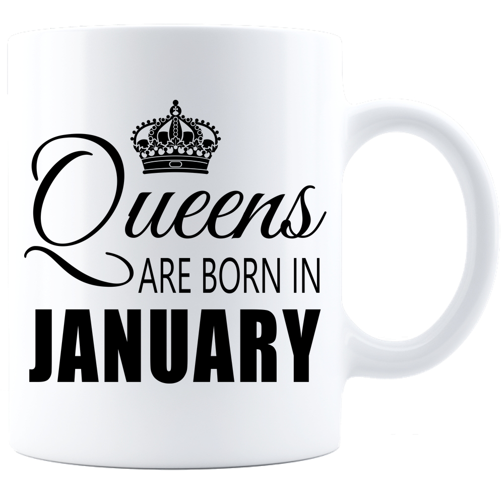 Queens are born in January_T-Shirt_840 Coffee Mug - White - JaZazzy