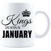 Kings are born in January Coffee Mug - White-Black - JaZazzy
