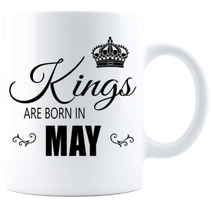 Kings are born in May Coffee Mug - White-Black - JaZazzy