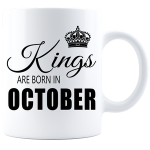 Kings are born in October Coffee Mug - White-Black - JaZazzy