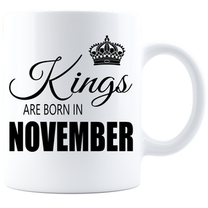 Kings are born in November Coffee Mug - White-Black - JaZazzy