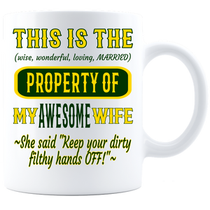 Coffee Mug_Property of Awesome Wife_GB_ White - JaZazzy
